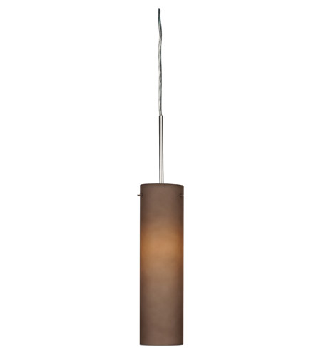 AFX Lighting Soho 1 Light Pendant in Satin Nickel with Brown Frosted  Glass SSP118SNSCT-BR photo