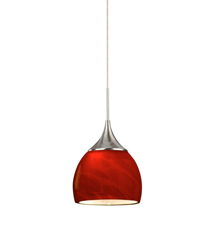 AFX SXPL45040RDSN Essex LED 5 inch Satin Nickel Mini Pendant Ceiling Light in Red, 4000K, 120-277 photo