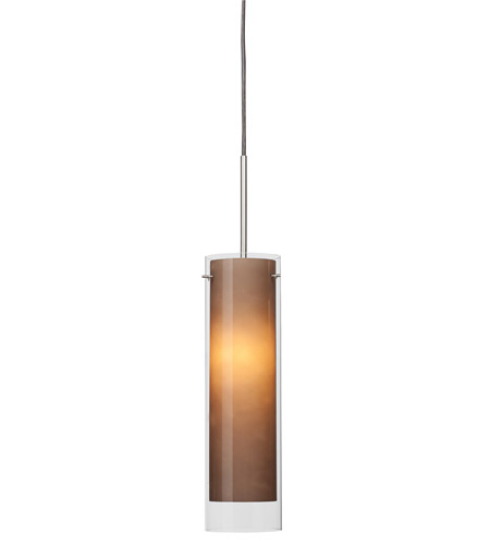 AFX Lighting View 1 Light Pendant in Satin Nickel with Brown Frosted  Glass VIP118SNSCT-BR photo