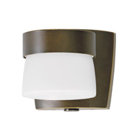 Aria 1 Light 5 inch Oil-Rubbed Bronze Mini Outdoor Sconce in White Glass