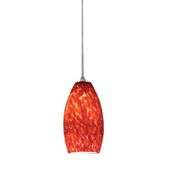 AFX BEPL45040RDSN Bella LED 3 inch Satin Nickel Mini Pendant Ceiling Light in Red, 120-277, 4000K photo thumbnail