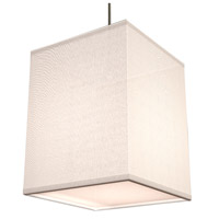 AFX Lighting Baker 1 Light Pendant in Satin Nickel with White Fabric Shade BKP118SNSCT-WH