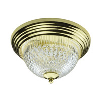 AFX Lighting C Series 2 Light Flush Mount in Polished Brass with Prismatic Acrylic Diffuser C213PBPLT
