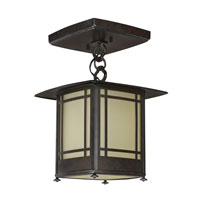 Eureka 1 Light 10 inch Moss Brown Semi-Flush Ceiling Light