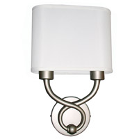 AFX HZS1016218QENSNFT Hudson 2 Light 4 inch Satin Nickel Wall Sconce Wall Light in Double White Linen