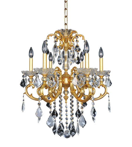 Allegri 023152-011-FR001 Praetorius 6 Light 24 inch 24K French Gold Chandelier Ceiling Light in Firenze Clear photo