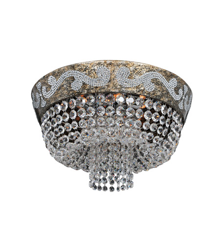 Allegri 024041-006-FR001 Romanov 7 Light 18 inch Antique Silver Leaf Flush Mount Ceiling Light in Firenze Clear photo