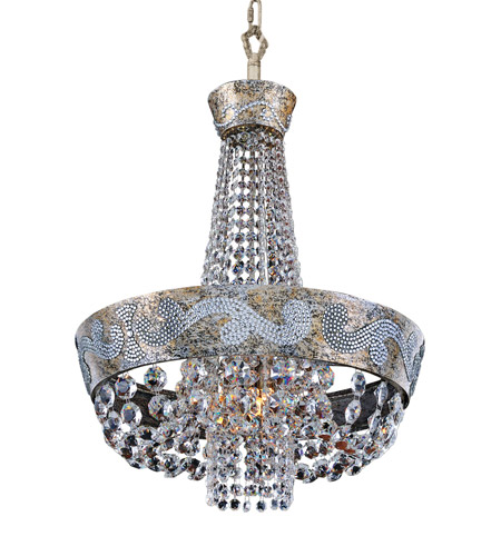 Allegri 024051-006-FR001 Romanov LED 18 inch Antique Silver Leaf Chandelier Ceiling Light in Firenze Clear photo