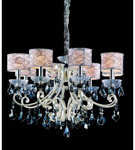 Allegri Nardini 8 Light Chandelier in Two-tone Silver with Firenze Smoke Fleet Argentine Crystals 10018-017-FR006-SA125 photo