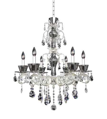 Allegri 10096-017-FR001 Locatelli 6 Light 29 inch Two-tone Silver Chandelier Ceiling Light in Firenze Clear photo