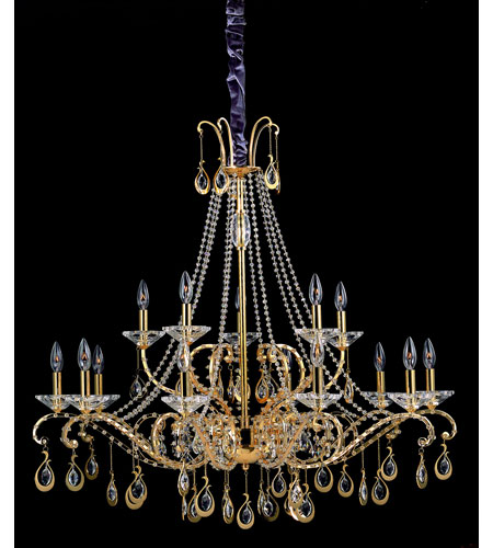 Allegri Torelli 15 Light Chandelier in 18K Gold with Firenze Clear Crystals 10338-018-FR001 photo