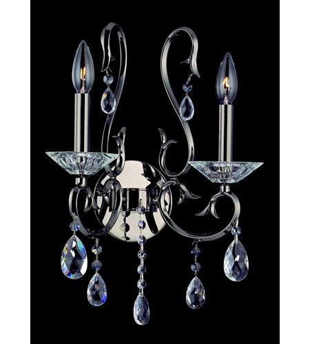 Allegri Cesti 2 Light Wall Bracket in Black Pearl with Firenze Clear Crystals 10362-007-FR001 photo