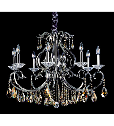 Allegri Cesti 8 Light Chandelier in Black Pearl with Swarovski Elements Golden Teak Crystals 10368-007-SE009 photo
