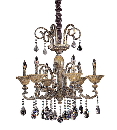 Allegri 10458-006-FR001 Legrenzi 6 Light 26 inch Antique Silver Leaf Chandelier Ceiling Light in Firenze Clear photo