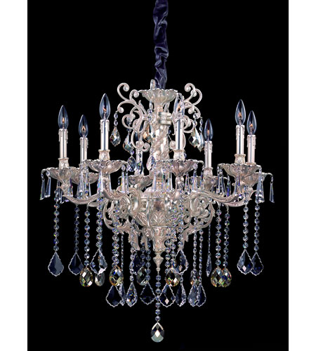 Allegri Marcello 8 Light Chandelier in Antique Silver with Swarovski Elements Mixed Crystals 10479-005-SE000 photo