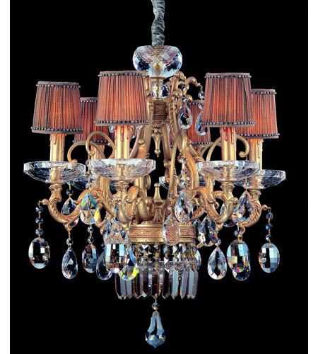 Allegri Rossi 6 Light Chandelier in Brass Patina with Firenze Mixed Crystals 10616-008-FR000-SA118 photo