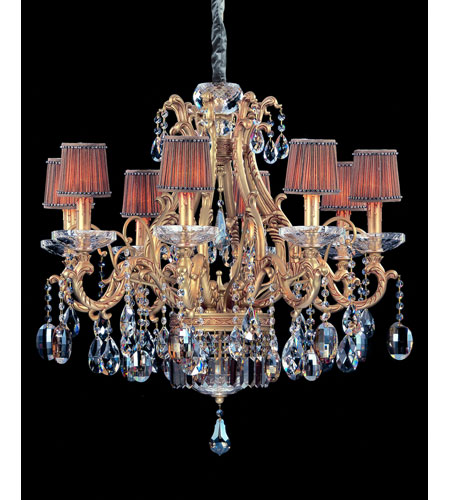 Allegri Rossi 10 Light Chandelier in Brass Patina with Firenze Mixed Crystals 10617-008-FR000-SA118 photo