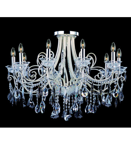 Allegri Brunetti 10 Light Semi-Flush in Two-tone Silver with Firenze Mixed Crystals 10889-017-FR000 photo