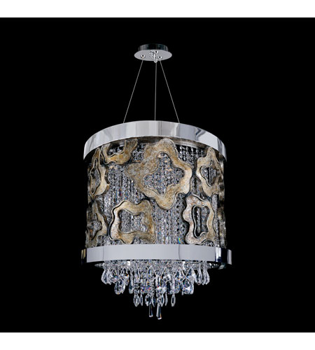 Allegri Caravaggio 6 Light Pendant in Chrome with Firenze Clear Crystals 11118-010-FR001 photo