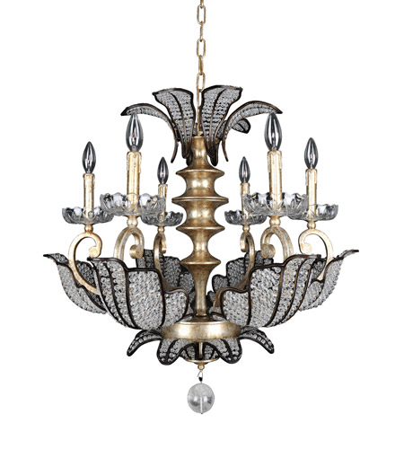 Allegri 11256-028-FR001 Tiepolo 6 Light 28 inch Silver Leaf SB Chandelier Ceiling Light in Firenze Clear photo