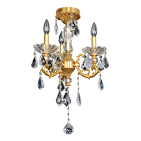 Praetorius 3 Light 15 inch 24K French Gold Flush Mount Ceiling Light in Firenze Clear