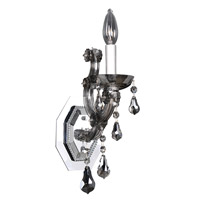 Allegri 023420-010-FR006 Brahms 1 Light Chrome Wall Sconce Wall Light in Firenze Smoked Fleet Argentine