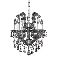 Allegri 023453-010-FR006 Brahms 5 Light 16 inch Chrome Chandelier Ceiling Light in Firenze Smoked Fleet Argentine