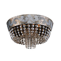Romanov 7 Light 24 inch Antique Silver Leaf Flush Mount Ceiling Light in Firenze Fleet Gold