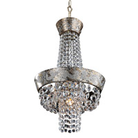 Allegri 024050-006-FR001 Romanov LED 12 inch Antique Silver Leaf Mini Chandelier Ceiling Light in Firenze Clear