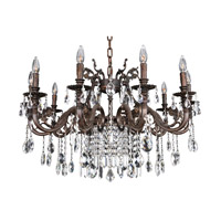 Allegri 025650-013-FR001 Avelli 10 Light 35 inch Sienna Bronze with Antique Silver Leaf accents Chandelier Ceiling Light in Firenze Clear