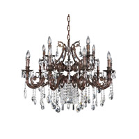 Allegri 025651-013-FR001 Avelli 15 Light 37 inch Sienna Bronze with Antique Silver Leaf accents Chandelier Ceiling Light in Firenze Clear