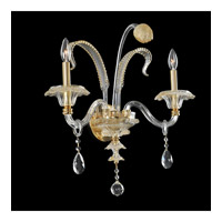 La Rosa 2 Light 16 inch 24K Gold Wall Bracket Wall Light