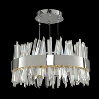 Allegri 030253-010 Glacier LED 20 inch Chrome Pendant Ceiling Light in Polished Chrome