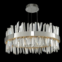 Allegri 030254-010 Glacier LED 25 inch Chrome Pendant Ceiling Light in Polished Chrome