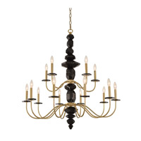 Allegri 031552-039 Piedra 15 Light 38 inch Brushed Brass Chandelier Ceiling Light
