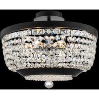 Allegri 037345-052-FR001 Terzo 6 Light 18 inch Matte Black with Polished Chrome Semi Flush Ceiling Light