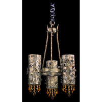 Allegri Franchetti 3 Light Chandelier in Antique Silver Leaf with Swarovski Elements Topaz Crystals 10278-006-SE017