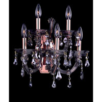Allegri Brahms 5 Light Wall Bracket in Rose Gold/24K with Firenze Smoke Fleet Argentine Crystals 10325-012-FR006