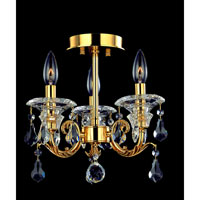 Allegri Haydn 3 Light Semi-Flush in Antique Brass with Firenze Clear Crystals 10340-003-FR001