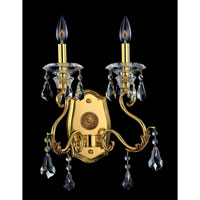Allegri Haydn 2 Light Wall Bracket in Antique Brass with Firenze Clear Crystals 10352-003-FR001