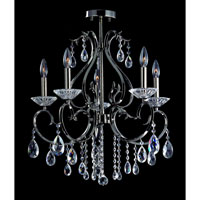 Allegri Cesti 5 Light Semi-Flush in Black Pearl with Firenze Clear Crystals 10360-007-FR001