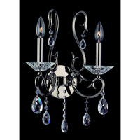 Allegri Cesti 2 Light Wall Bracket in Black Pearl with Firenze Clear Crystals 10362-007-FR001 photo thumbnail