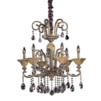 Legrenzi 6 Light 26 inch Antique Silver Leaf Chandelier Ceiling Light in Firenze Clear
