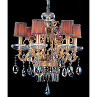 Allegri Rossi 6 Light Chandelier in Brass Patina with Firenze Mixed Crystals 10616-008-FR000-SA118 photo thumbnail
