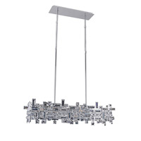 Allegri 11198-010-FR001 Vermeer 6 Light 35 inch Chrome Island Light Ceiling Light in Firenze Clear