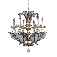 Allegri 11256-028-FR001 Tiepolo 6 Light 28 inch Silver Leaf Sienna Bronze Chandelier Ceiling Light in Firenze Clear