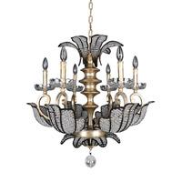 Allegri 11256-028-FR001 Tiepolo 6 Light 28 inch Silver Leaf Sienna Bronze Chandelier Ceiling Light in Firenze Clear