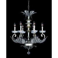 Allegri Tiepolo 6 Light Chandelier in Silver Leaf SB with Firenze Fleet Gold Crystals 11256-028-FR005