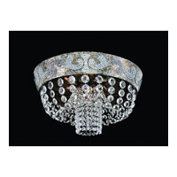 Allegri Romanov 7 Light Flush Mount in Antique Silver Leaf with Firenze Clear Crystals 11652-006-FR001