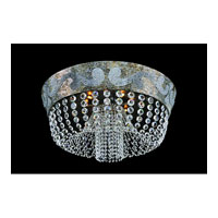 Allegri Romanov 9 Light Flush Mount in Antique Silver Leaf with Firenze Clear Crystals 11654-006-FR001
